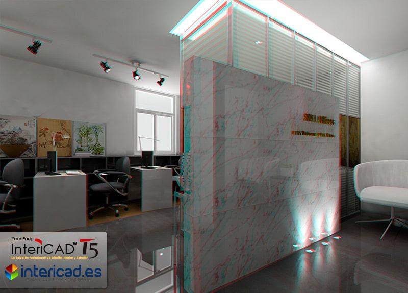 Render Estereoscopico de una oficina, para ver con gafas 3D.
