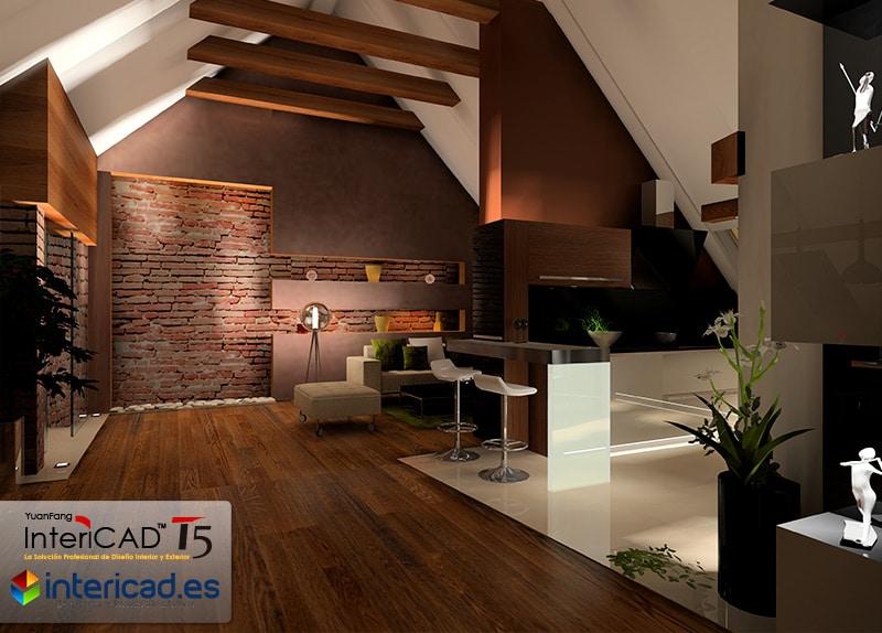 Reforma de una ático creado con el software de interiorismo InteriCAD T5