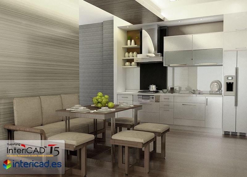 Render creado con el software para cocinas InteriCAD KD Max