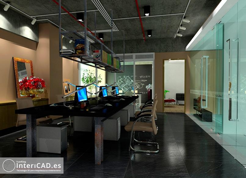 Expectacular imagen de una oficina creada en InteriCAD T6