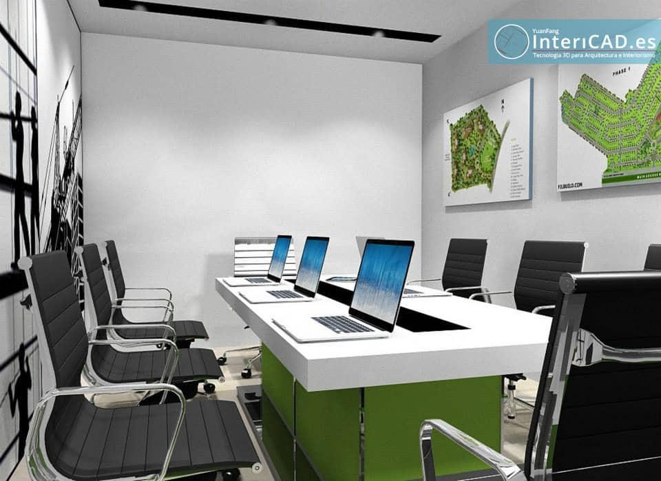 Oficina creada con programa de interiorismo for Programas 3d interiorismo