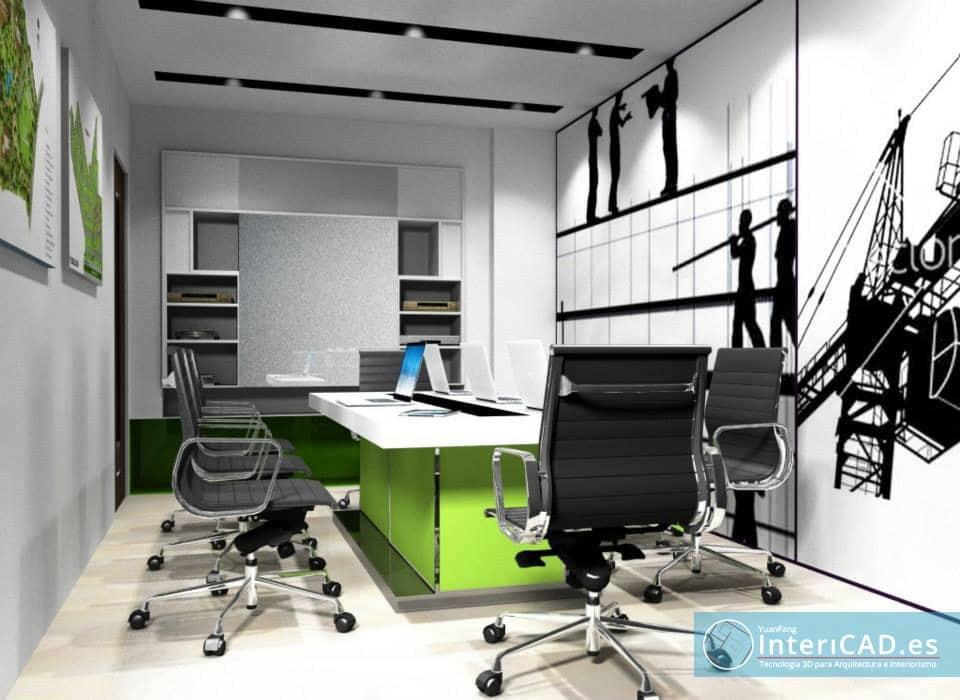 Oficina creada con programa de interiorismo for Programa interiorismo