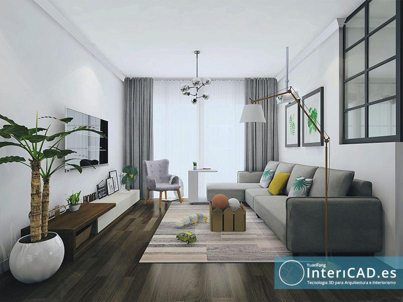 Renderizado de un Un salón blanco y verde creado con InteriCAD