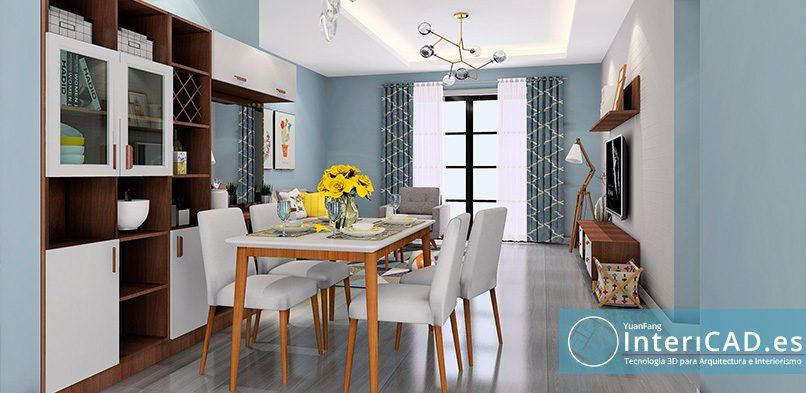 Un salón blanco y azul muy luminoso