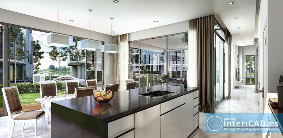Dos cocinas con isla creadas con InteriCAD