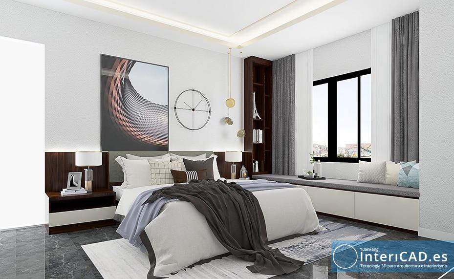 Dormitorio creado con programa de diseño de interiores